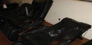 black leather massage chair