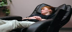 girl on a massage chair