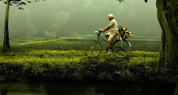man, bike
